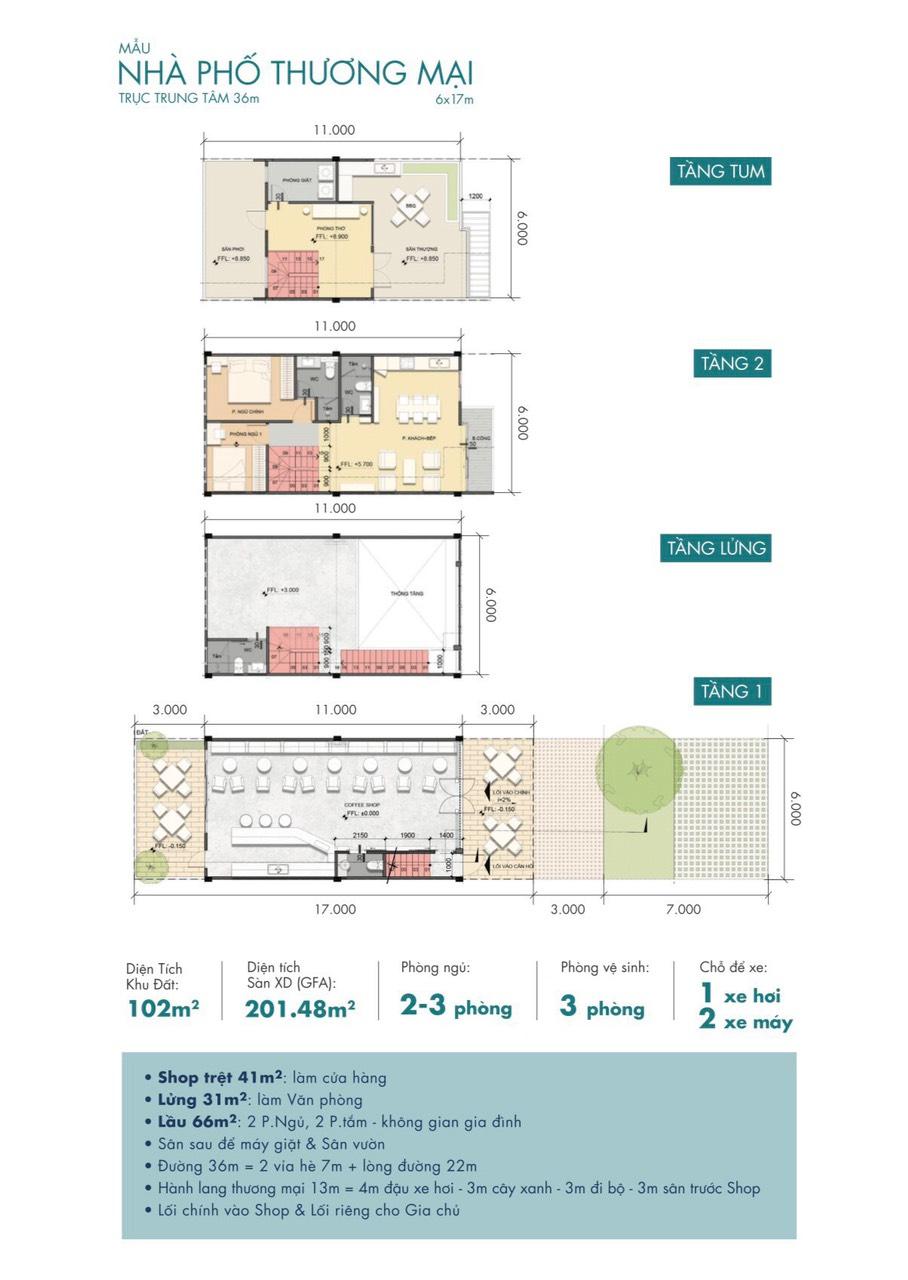 bản vẽ shophouse trục 36m khu đô thị shophouse waterpoint long an nam long